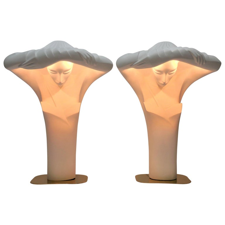 Pair of Large White Sculptural Lamps by Lindsey Balkweill, 1984 For Sale