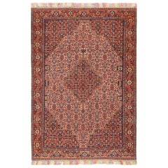 Small Silk and Wool Antique Persian Senneh Rug