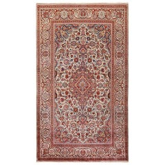 Small Size Antique Silk Persian Kashan Rug