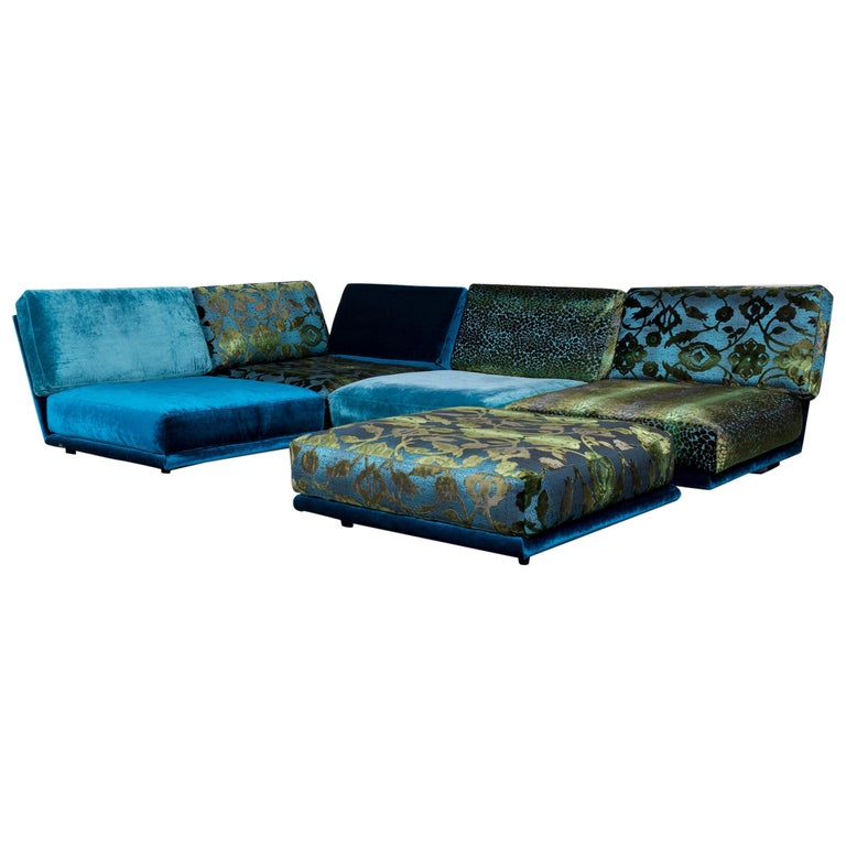 Bretz Designer Sofa Fabric Blue Two-Seat Couch Chaise Longue at 1stdibs