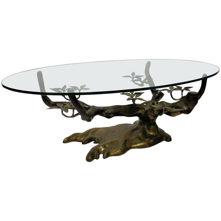Willy Daro Brass Bonsai Tree Coffee Table, 1970s For Sale