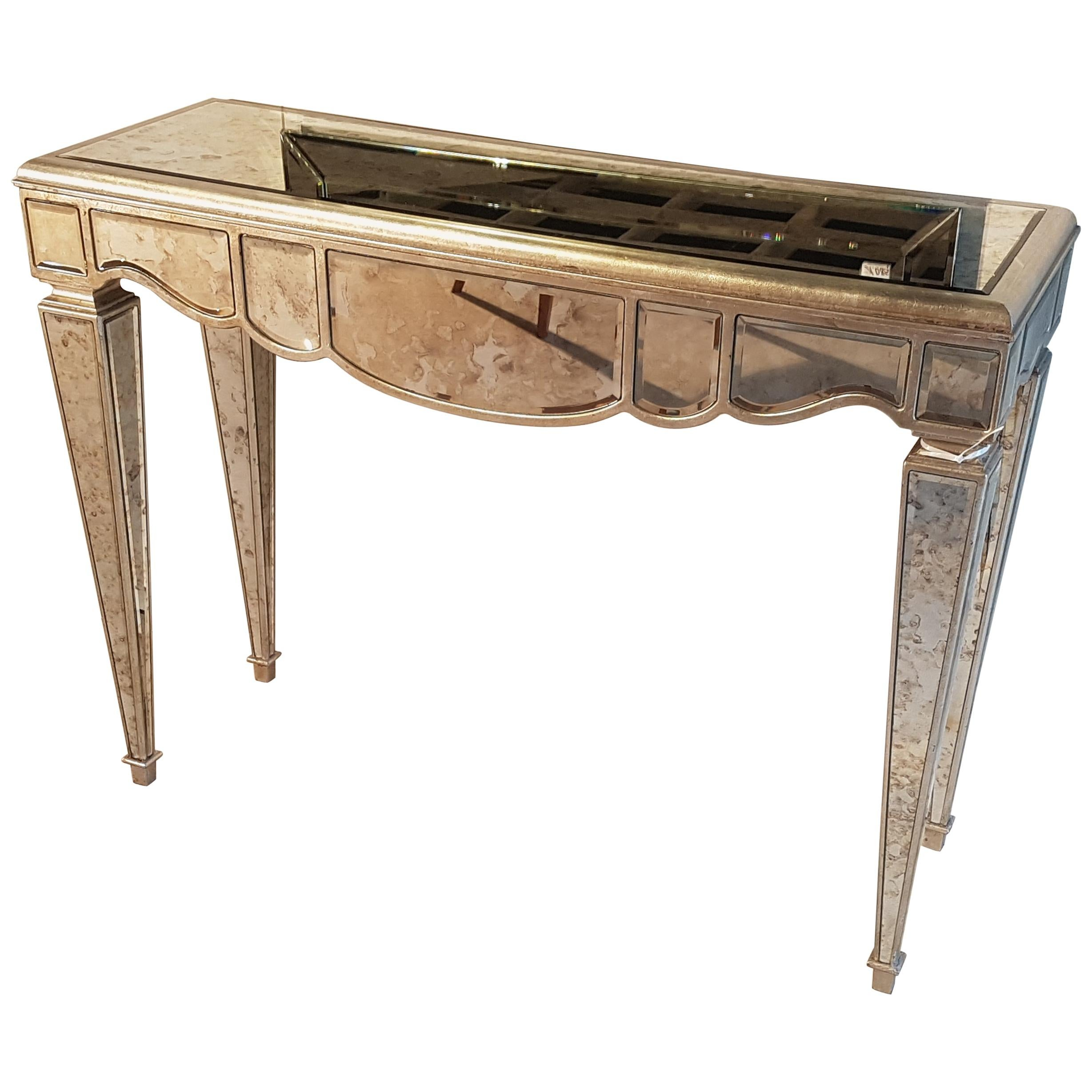 Shabby Chic Mirrored Console Table Design For Sale