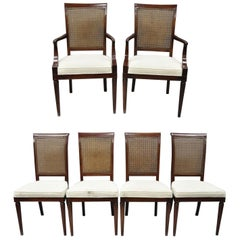 French Louis XVI Provincial Style Cane Back Cherry Wood Dining Chairs Set of Six