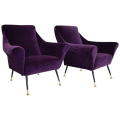 Italian Armchairs or Lounge Chairs Restored in Purple Velvet, 1950s