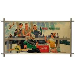 Midcentury Coca Cola Store Sign with Frame, 1959