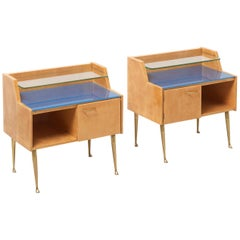 Pair of Maple Bedside Tables with Brass Feet, 1950s, Italy