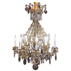 French Louis XVI Style, Gilt-Bronze and Cut-Crystal Chandelier by Maison Baguès