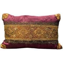 Antique Polychrome Embroidery on Purple Moire' Pillow by Eleganza Italiana