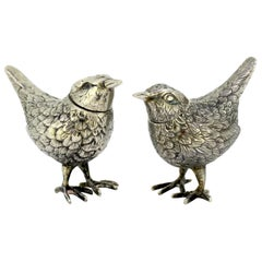 Antique Silver Pair of Salt and Pepper Bird Shakers, by FW, 19th Century