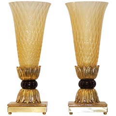 Barovier Toso Art Deco Style Pair of Brass and Gold Honeycomb Murano Glass Lamps