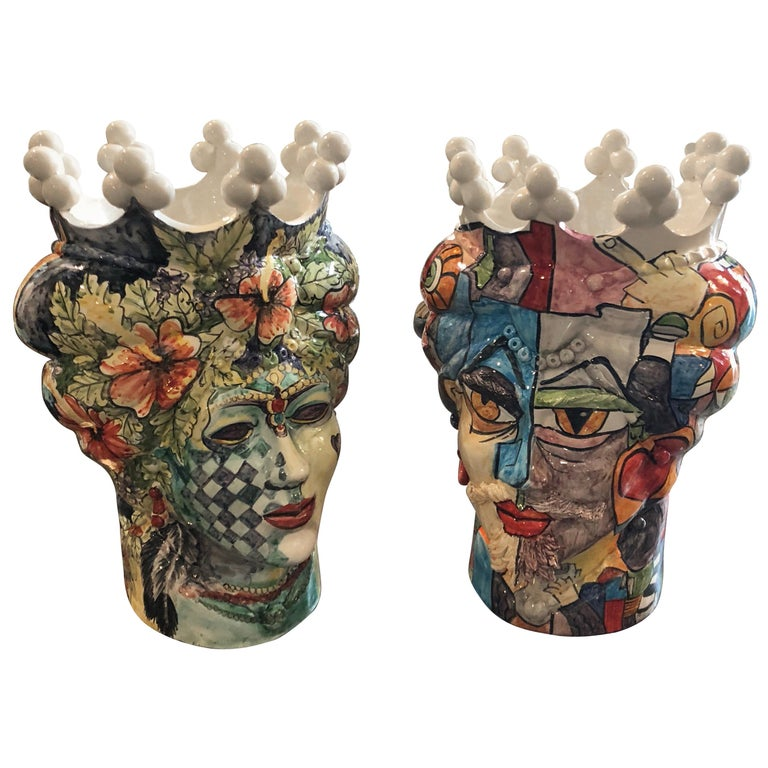 Unique Pair Of Sicilian Hand Painted Clay Moros Heads Vases In Pop