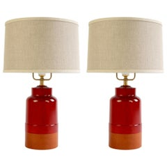 Pair of Tiverton Lamps in Oxblood Red Stain with Cognac Leather by O&G Studio