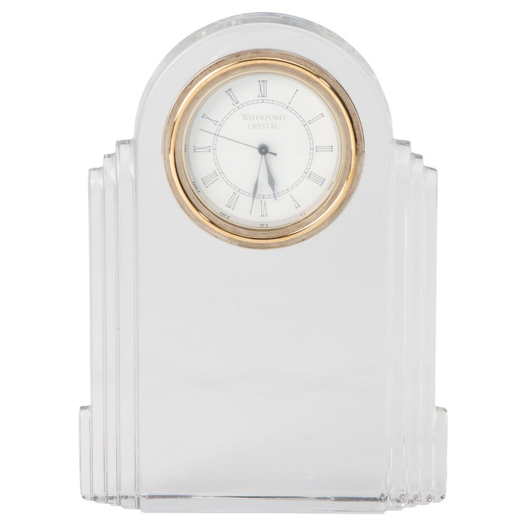 Art Deco Desk Clock in Clear Crystal by Waterford
