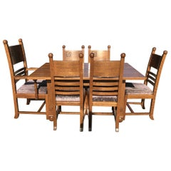 Liberty & Co style of CFA Voysey, Arts & Crafts Oak Dining Set with Ball Finials