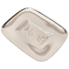 Diego Rivera Style Vintage Polished Silver Plate Tray