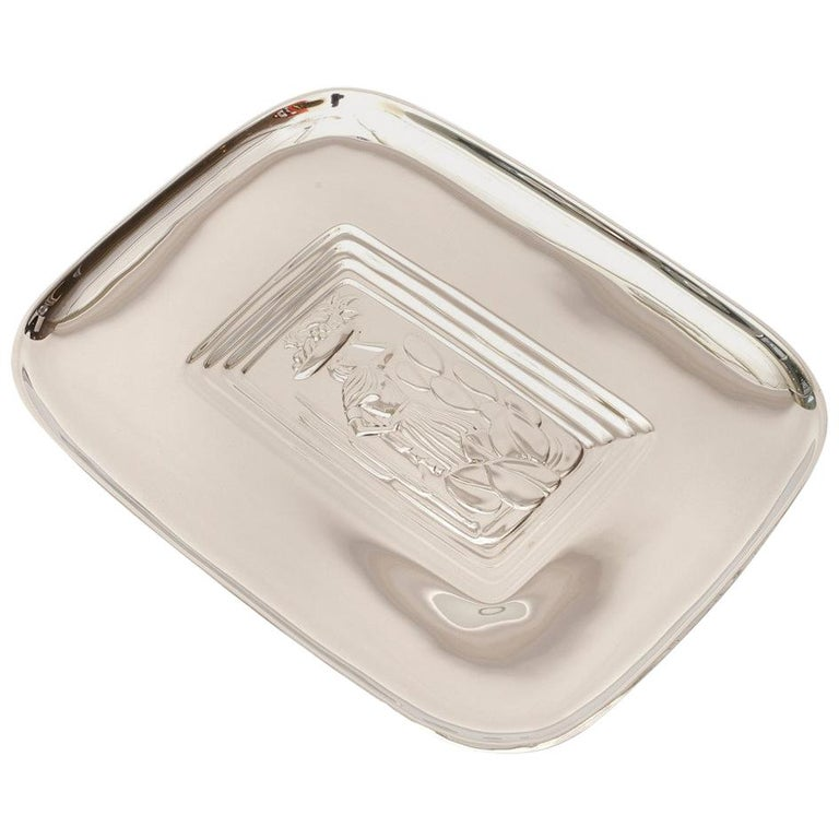 Diego Rivera Style Vintage Polished Silver Plate Tray  For Sale