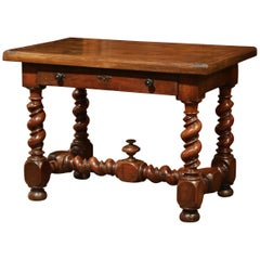 18th Century, French, Louis XIII Carved Walnut Table Desk with Barley Twist Legs