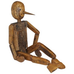 Mid-Century Modern 1960s Italian Vintage Articulated Wooden Pinocchio Sculpture