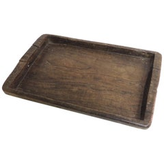 Antique Primitive Hand-Carved Artisanal Wood Tray