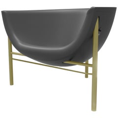Galanter & Jones Heated Cast Stone Kosmos Chair with Custom Frame, Charcoal