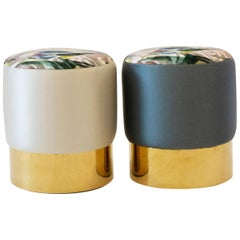 Small Upholstered Ottoman, Brass Base