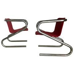 "1970s Italian Tubular Chrome ""Z"" Lounge Chairs Attributed to Harvey Guzzini"