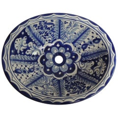 Spanish Blue and White Oval Hand-Painted Sink