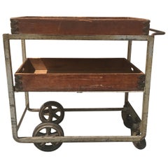 Unusual 1920s Industrial Cast Iron and Wood Bar Cart/ Trolly, Nutting Truck Co.