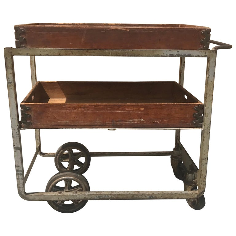 Unusual 1920s Cast Iron And Wood Bar Cart Trolly Nutting Truck Co