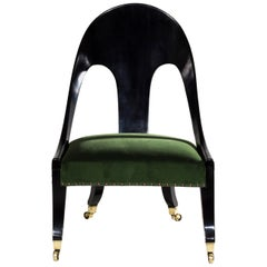 Regency Greek Revival Ebonized Klismos Low Chair