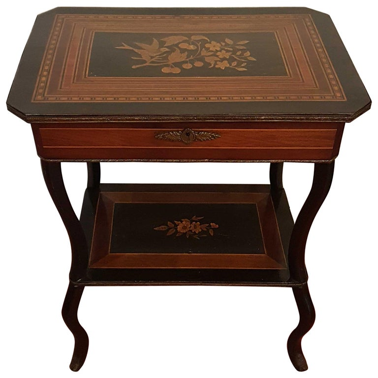 19th Century Napoleon III Marquerty Vanity Side Table, France, circa 1860