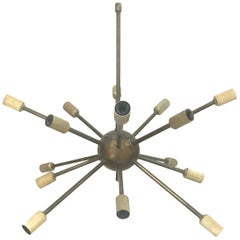 Sculptural 1950s Italian Brass Sputnik Sixteen-Light Chandelier