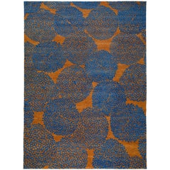 Tobacco and Indigo Blue Wool Rug with Dandelion Motif by Carini