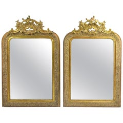 Pair of Early 20th Century Belle Époque Style Giltwood Mirrors