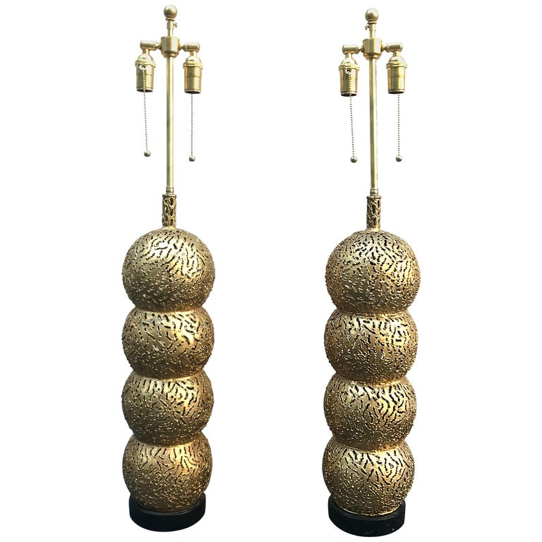 Fabulous Pair of 1950s Italian Brutalist Stacking Ball Table Lamps For Sale