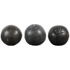 Collection of Three Black Vintage Leather Medicine Balls
