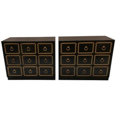 Pair of Dorothy Draper Espana Black Lacquered Chests