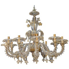 Oversized Murano Chandelier with Gold Flecks