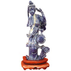 20th Century Chinese Sculpture in Lapis Lazuli Geisha Figure