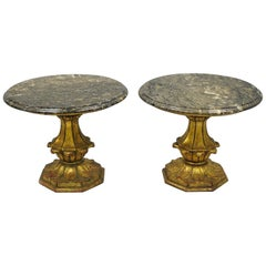Francisco Hurtado Gold Wood Italian Hollywood Regency Marble Top End Tables Pair