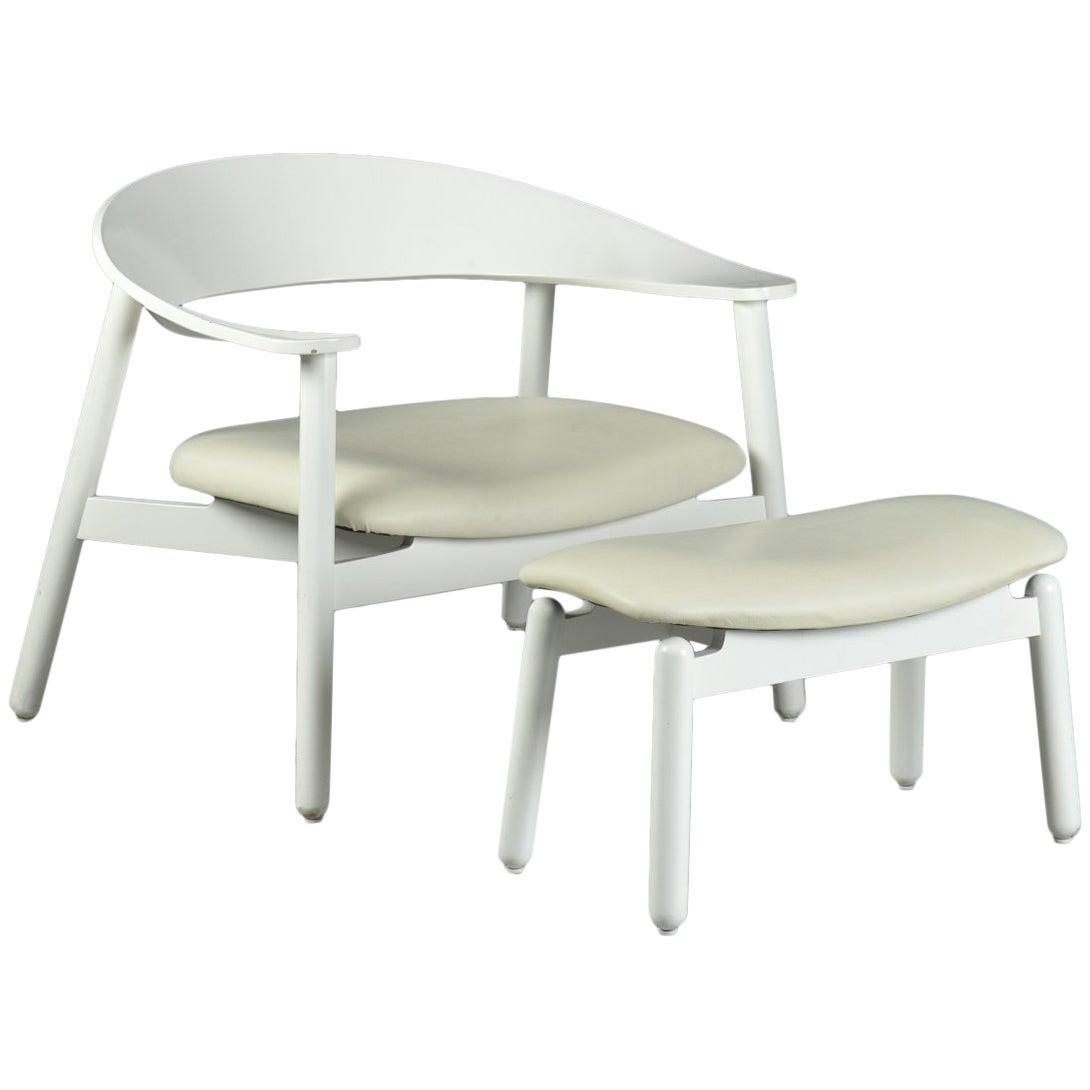2000s Henrik Bønnelycke Sculptural Lounge Chair and Ottoman