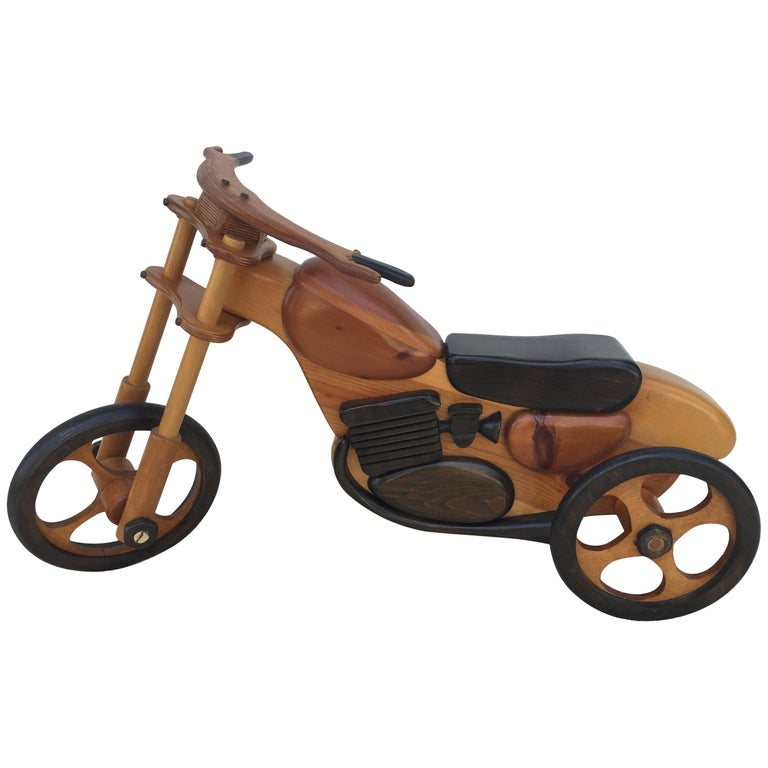 Hand-Carved /Crafted Large Display Childs Tricycle Motorbike