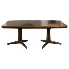 Mid-Century Modern Dale Ford Widdicomb Expandable Parquet Wood Dining Table