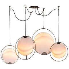 Hoop Shade Chandelier Modern Kinetic Circular Blacken Steel & Linen Chandelier