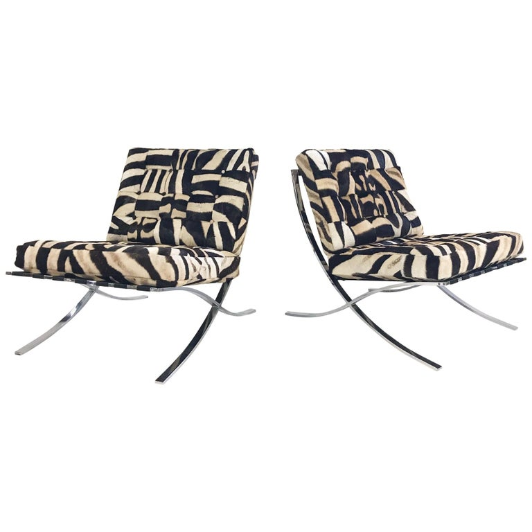 Vintage Barcelona Style Chairs Restored in Patchwork Zebra Hide, Pair