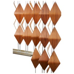 14 Bar Window Shades: Modern Walnut and Aluminum, Room Divider or Screen