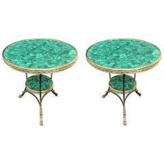 Wonderful Pair of Gilt Bronze Malachite Round Two-Tier Paw Feet Gueridon Table