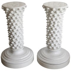 Pair of Italian Ceramic Pedestals Attributed to Fantoni