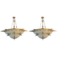 Pair of Large Oval Double Bowl Shape Bronze and Crystal Basket Chandeliers