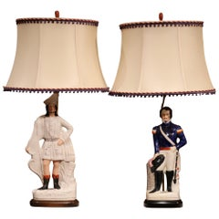 Pair of 19th Century English Staffordshire Ceramic Figures Made into Table Lamps